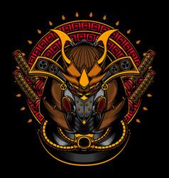 samurai robot head vector image