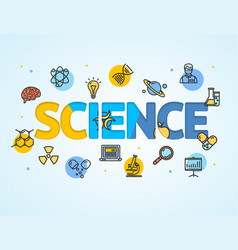science research template line icon concept paper vector image