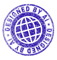 Scratched textured designed ai stamp seal vector