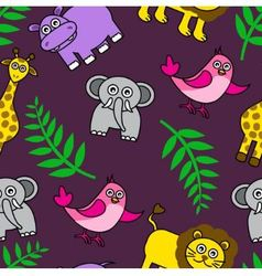 Seamless background with Cartoon animals and palm vector