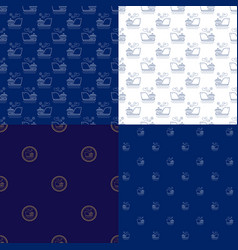 Seamless marine pattern with ship vector