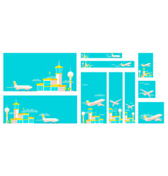 Set of banners airport terminal building vector