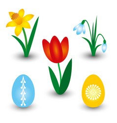 set of three spring flowers and two easter eggs vector image