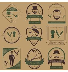 Set of vintage barber hairstyle and gentlemen club vector image
