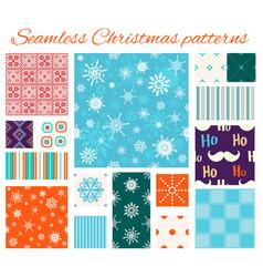 set seamless christmas patterns vector image