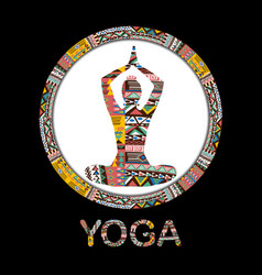 Silhouette yoga woman with ethnic decorative vector