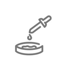 Simple petri dish bacteria line icon symbol vector