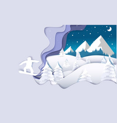 snowboarding paper art style poster banner vector image
