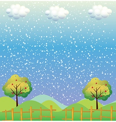 Snowflakes at the hills vector image