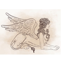 Sphinx mythical creature with head human body vector