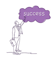 successful business man sketch silhouette point vector image