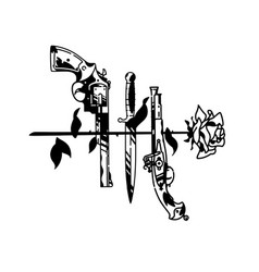 Tattoo pistol knife and rose cold and firearms vector