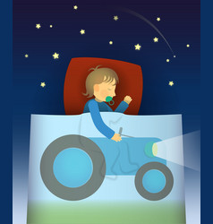 the little boy has a dream about tractor vector image