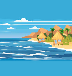 Tropical island bungalows vacation travel vector
