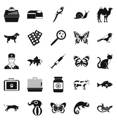 Vet clinic icons set simple style vector