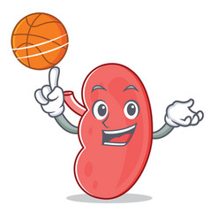 With basketball kidney character cartoon style vector