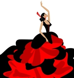 Woman and flamenco vector