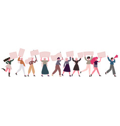 women protesters female movement feminist vector image