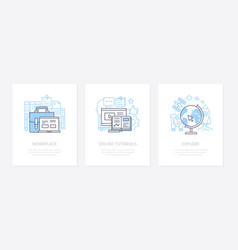 workplace equipment - line design style icons set vector image