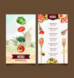 World food day menu design with tomato kale fried vector