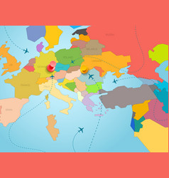 World travel concept with map of europe and color vector