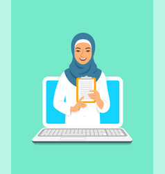 Young arab woman doctor online consultation vector