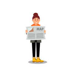 young girl with map in hands cartoon character of vector image