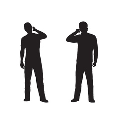 Black silhouette of the person with phone vector image vector image