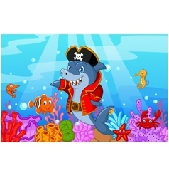 Cute shark pirate cartoon with collection fish vector image vector image