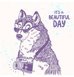 dog with a camera vector image vector image