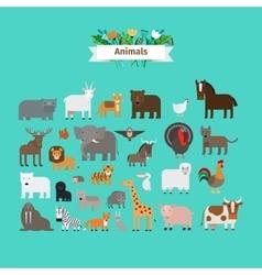Animals flat design icons vector image