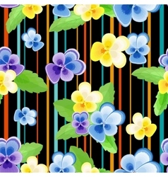 Colorfulseamless pattern with pansies-01 vector image vector image