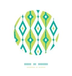 Emerald green ikat diamonds circle decor patterns vector image