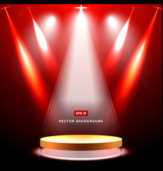 gold stage with spotlight and star on red vector image vector image