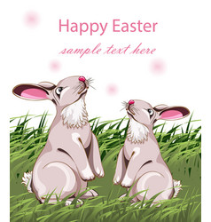 happy easter card with cute rabbits vector image