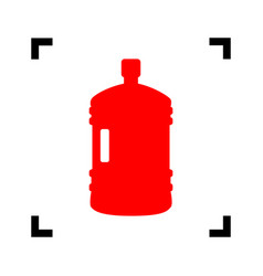 plastic bottle silhouette sign red icon vector image