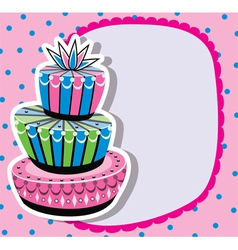 card with birthday cake vector image vector image