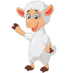 Cartoon sheep waving hand vector