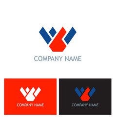 letter w shape company logo vector image