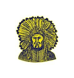 Native American Indian Chief Warrior Etching vector image