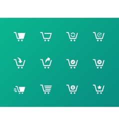 Shopping cart icons on green background vector image vector image