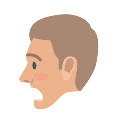 surprised man face flat icon vector image vector image