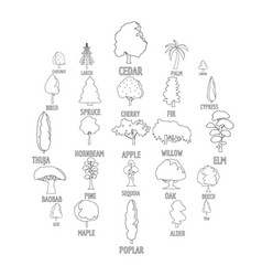 tree types icons set outline style vector image