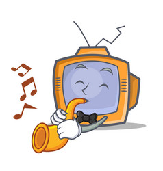tv character cartoon object with trumpet vector image