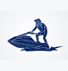 jet ski action sport man riding water scooter vector image vector image