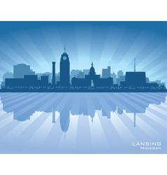 Lansing Michigan city skyline silhouet vector image