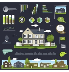 Real estate infographics design with house vector image