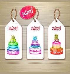Set of art cake or dessert banners vector image