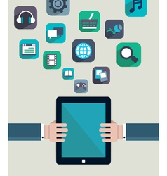 Social media concept Resources of tablet pc vector image vector image