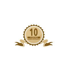 10 years ribbon anniversary vector image